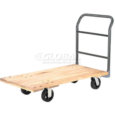 "Global Industrial™ Hardwood Deck Platform Truck 48 x 24 2000 Lb. Capacity 6"" Rubber Casters"