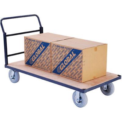 "Global Industrial™ Steel Bound Wood Deck Platform Truck 60x30 1200 Lb. Cap. 8"" Pneu. Casters"
