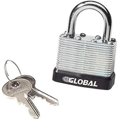 Global Industrial™ General Security Laminated Steel Padlock, Bumper, 2 Keys, Keyed Differently