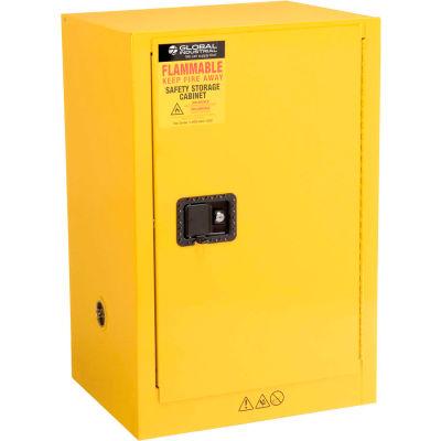 "Global™ Compact Flammable Cabinet - 12 Gallon Manual Close Single Door - 23""W x 18""D x 35""H"