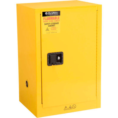 """Global Industrial™ Compact Flammable Cabinet, 12 Gallon Manual Close SGL Door, 23""""Wx18""""Dx35""""H"""