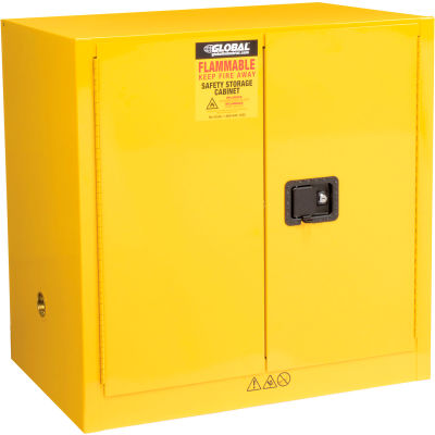 """Global Industrial™ Flammable Cabinet, Manual Close Double Door, 24 Gallon, 43""""Wx12""""Dx44""""H"""