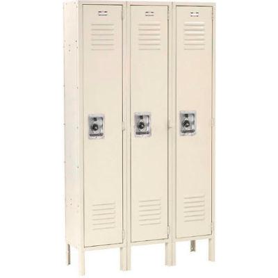 """Global Industrial™ Infinity® Single Tier 3 Door Locker, 15""""Wx18""""Dx72""""H, Tan, Unassembled"""