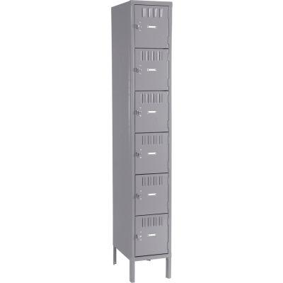Tennsco Box Locker BS6-121212-1-MGY - Six Tier w/Legs 1 Wide 12x12x12 Assembled, Medium Grey