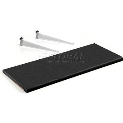 Global Industrial™ Slatwall Shelf 48 X 15 Black Plastic With 3 Brackets - Pkg Qty 4