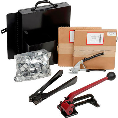"""Pac Strapping Steel Kit w/ Tensioner/Sealer/Cutter/Case & Two 1/2"""" Strap Width x 200'L Coils, Black"""