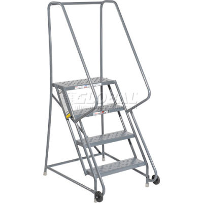 "4 Step Steel 24""W Step Tilt And Roll Ladder - Perforated Tread - KDTF104246"