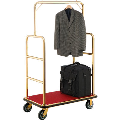 """Global Industrial™ Best Value Gold Stainless Steel Bellman Cart Straight Uprights 6"""" Casters"""