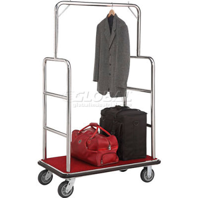 """Global Industrial™ Silver Stainless Steel Bellman Cart Straight Uprights 6"""" Rubber Casters"""