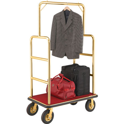"""Gold Stainless Steel Bellman Cart Straight Uprights 8"""" Pneumatic Casters"""