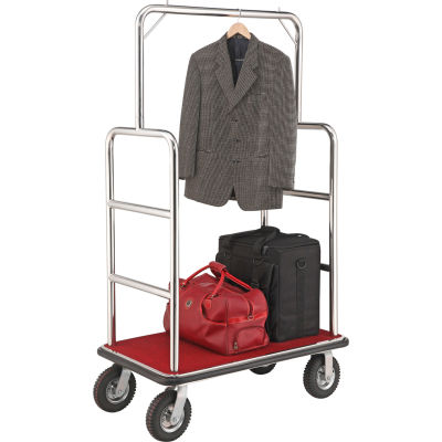 """Global Industrial™ Silver Stainless Steel Bellman Cart Straight Uprights 8"""" Pneumatic Casters"""