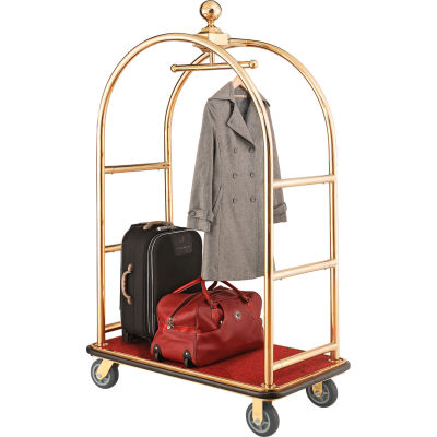 "Best Value Gold Stainless Steel Bellman Cart Curved Uprights 6"" Rubber Casters"