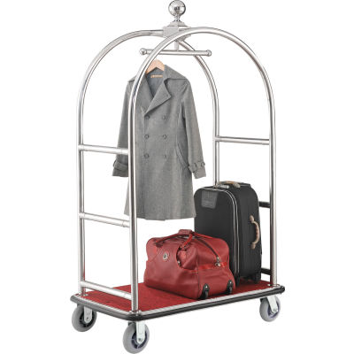 """Best Value Silver Stainless Steel Bellman Cart Curved Uprights 6"""" Rubber Casters"""