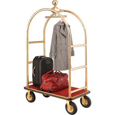 """Best Value Gold Stainless Steel Bellman Cart Curved Uprights 8"""" Pneu. Casters"""