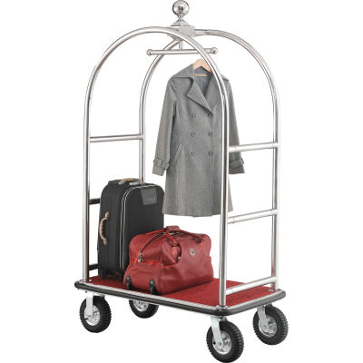 """Global Industrial™ Bellman Cart With Curved Uprights, 8"""" Casters, Silver Stainless Steel"""