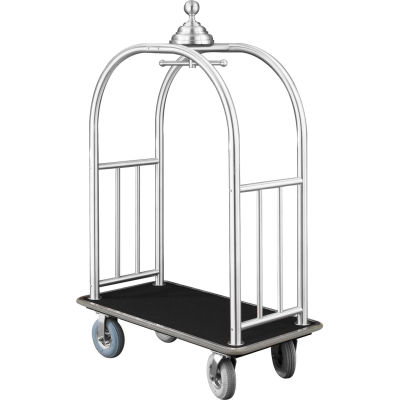 Glaro Ball Crown Bellman Cart 48x25 Satin Aluminum Black Carpet, 4 Gray Pneu Wheels