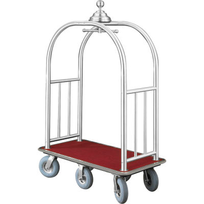 Glaro Ball Crown Bellman Cart 48x25 Satin Aluminum Burgundy Carpet, 6 Gray Pneu Wheels