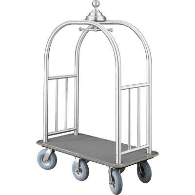 Glaro Ball Crown Bellman Cart 48x25 Satin Aluminum Gray Carpet, 6 Gray Pneu Wheels