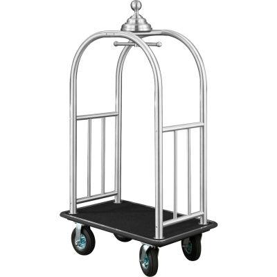 Glaro Ball Crown Bellman Cart 40x25 Satin Aluminum Black Carpet, 4 Black Pneu Wheels