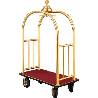 Glaro Ball Crown Bellman Cart 48x25 Satin Brass Burgundy Carpet, 4 Black Pneu Wheels