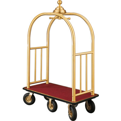 Glaro Ball Crown Bellman Cart 48x25 Satin Brass Burgundy Carpet, 6 Black Pneu Wheels