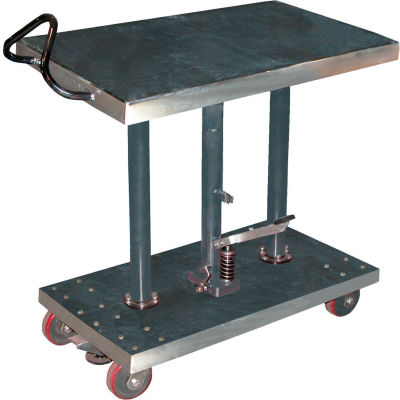 Stainless Steel Hydraulic Post Lift Table HT-10-2036A-PSS 20x36 1000 Lb.