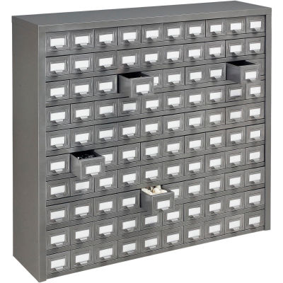"Global Industrial™ Steel Storage Drawer Cabinet - 100 Drawers 36""W x 9""D x 34-1/2""H"
