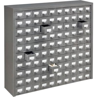 "Global Industrial™ Steel Storage Drawer Cabinet - 100 Drawers 36""W x 9""D x 34-1/2""H"