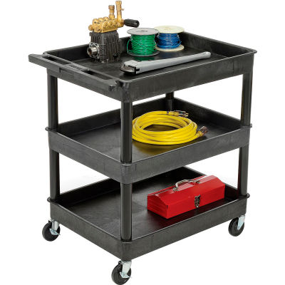 "Luxor® TC111 Tray Top Shelf 3 Shelf Plastic Utility Cart 32x24 4"" Casters"