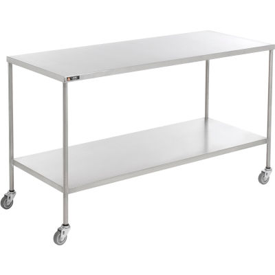 "AERO Stainless Steel Instrument Table with Lower Shelf, 48""L x 24""W x 34""H"