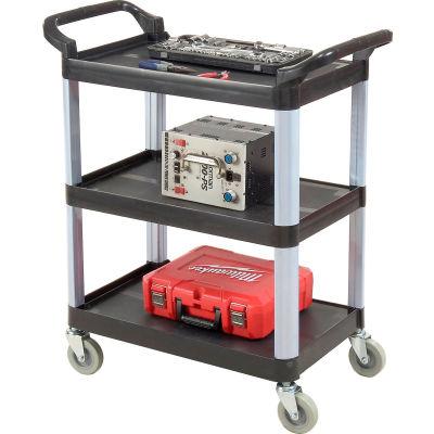Luxor® SC12B Black 3-Shelf Plastic Serving Utility Cart 200 Lb. Capacity