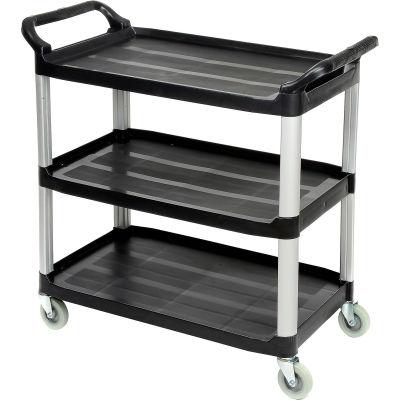 "Luxor® Service Cart, Aluminum Posts, 3 Shelf, 40-1/2""Lx19-3/4""W, Black"