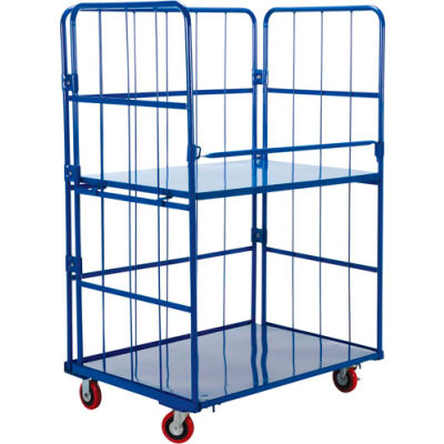 Steel Folding Roller Container Shelf Truck ROL-3143-2 2 Shelves 40x28x68