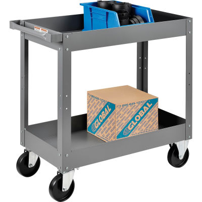 Global Industrial™ 2 Shelf Deep Tray Steel Stock Cart 30x16 500 Lb. Capacity