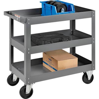 Global Industrial™ 3 Shelf Deep Tray Steel Stock Cart 30x16 800 Lb. Capacity
