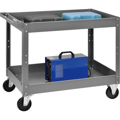 Global Industrial™ 2 Shelf Deep Tray Steel Stock Cart 36x24 500 Lb. Capacity