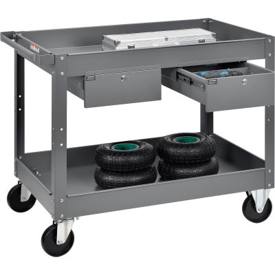 Global Industrial™ 2 Shelf Deep Tray Steel Stock Cart 36x24 500 Lb. Cap with 2 Drawers