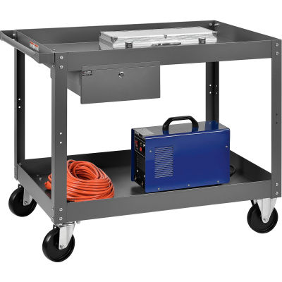 Global Industrial™ 2 Shelf Deep Tray Steel Stock Cart 36x24 800 Lb. Capacity with 1 Drawer