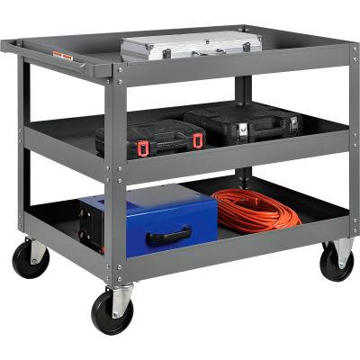 Global Industrial™ 3 Shelf Deep Tray Steel Stock Cart 36x24 800 Lb. Capacity