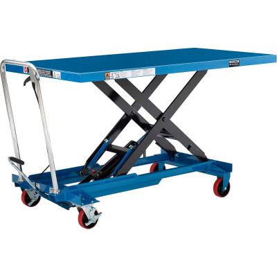 "Global Industrial™ Long Deck Mobile Scissor Lift, Oversized 63"" x 32"" Platform, 1100 Lb. Cap."