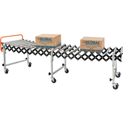 """Global Industrial™ Portable Flexible & Expandable 2'8"""" to 8'6"""" Conveyor - Steel Rollers - 24""""W"""