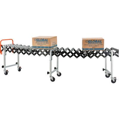 "Global Industrial™ Portable Flexible & Expandable 2'4""-8'11"" Conveyor Steel Skate Wheels - 14""W"