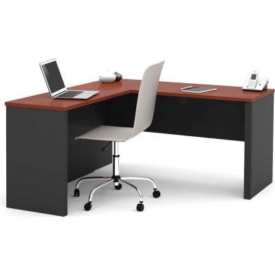 """Bestar® L Desk - 60"""" - Bordeaux & Graphite - Prestige+"""