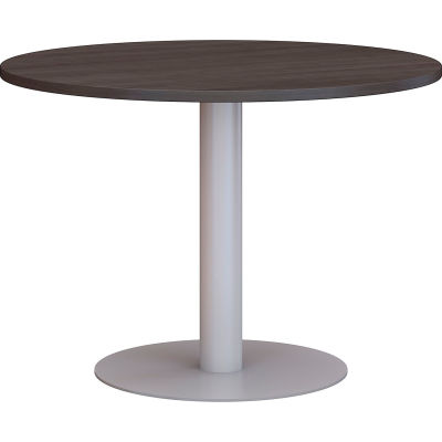 """Bush Business Furniture 42"""" Round Conference Table with Metal Disc Base - Storm Gray"""