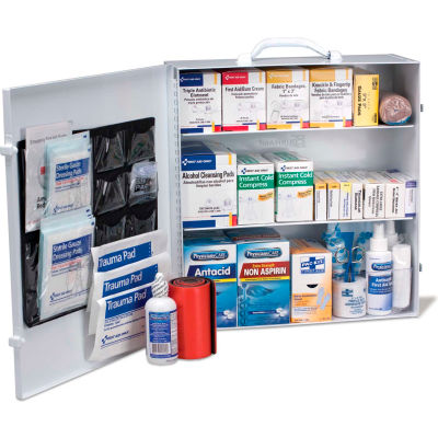 First Aid Only™ 90575 3 Shelf First Aid Kit w/Meds, ANSI Compliant, Class B+, Metal Cabinet