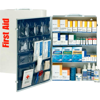 First Aid Only™ 90576 4 Shelf First Aid Kit w/Meds, ANSI Compliant, Class B+, Metal Cabinet