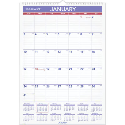 AT-A-GLANCE® Erasable Wall Calendar, 12 x 17, White, 2021