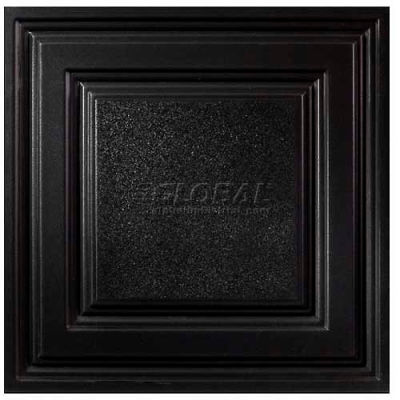 Genesis Designer Icon Relief PVC Ceiling Tile 754-07, 2'L X 2'W, Satin Black - 12/Case