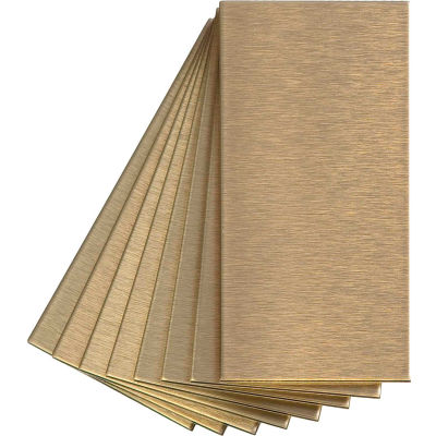 """Aspect Short Grain 3"""" X 6"""" Brushed Champagne Metal Decorative Wall Tile, 8 Pack - A53-51"""