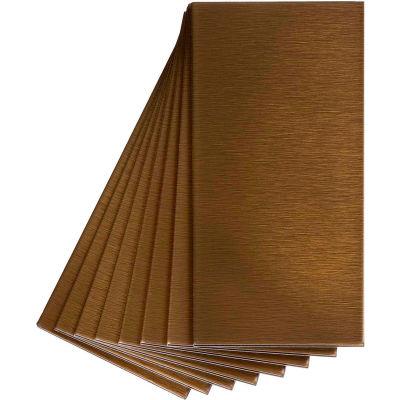 "Aspect Short Grain 3"" X 6"" Brushed Bronze Metal Decorative Wall Tile, 8 Pack - A53-53"